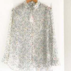 UNIQLO FLOWY SHIRT, FLORAL PRINTED SHEER BLOUSE